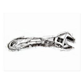 Schwarzweiss-Werkzeug, das Schlüssel zeichnet Postkarte