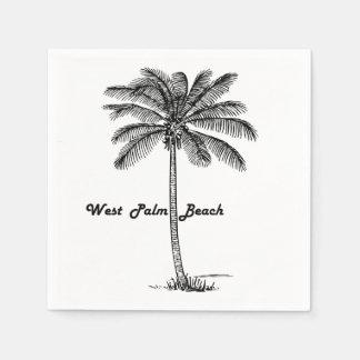 Schwarzweiss-West- Palm Beach u. Palmenentwurf Papierserviette