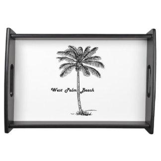 Schwarzweiss-West- Palm Beach u. Palmenentwurf Tablett