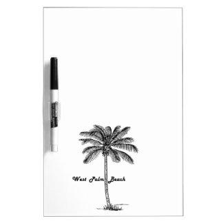 Schwarzweiss-West- Palm Beach u. Palmenentwurf Trockenlöschtafel