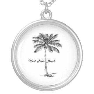 Schwarzweiss-West- Palm Beach u. Palmenentwurf Versilberte Kette