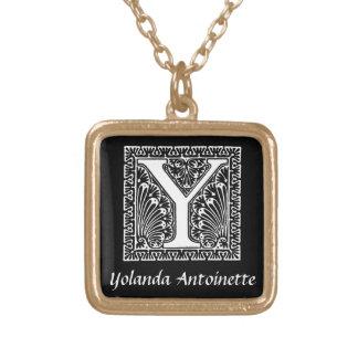 Schwarzweiss-y-Monogramm-Initiale personalisiert Halskette Mit Quadratischem Anhänger