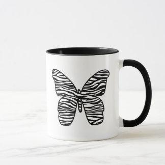 Schwarzweiss-Zebra-Druck-Schmetterlings-Tassen Tasse