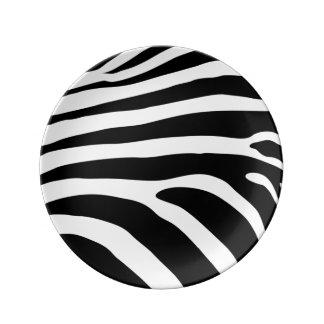 Schwarzweiss-Zebra-Streifen-Tierdruck Teller