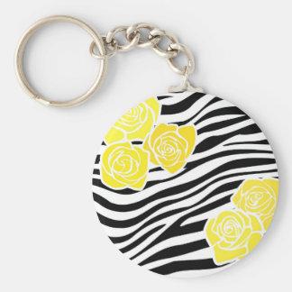 Schwarzweiss-Zebramuster + gelbe Rosen Schlüsselanhänger