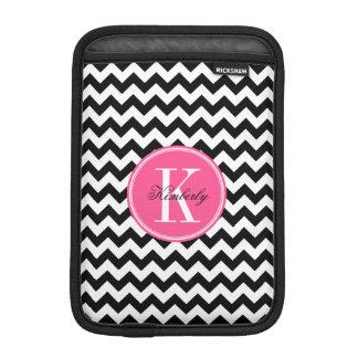Schwarzweiss-Zickzack mit rosa Monogramm iPad Mini Sleeve