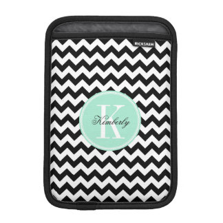 Schwarzweiss-Zickzack mit tadellosem Monogramm Sleeve Für iPad Mini