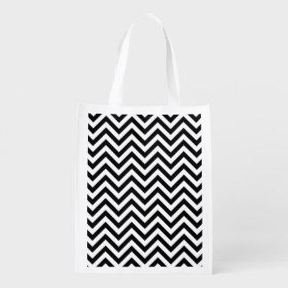 Schwarzweiss-Zickzack Stripes Zickzack Muster Wiederverwendbare Einkaufstasche