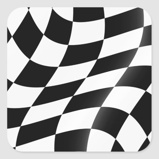 Schwarzweiss-Zielflagge-Aufkleber Quadratischer Aufkleber