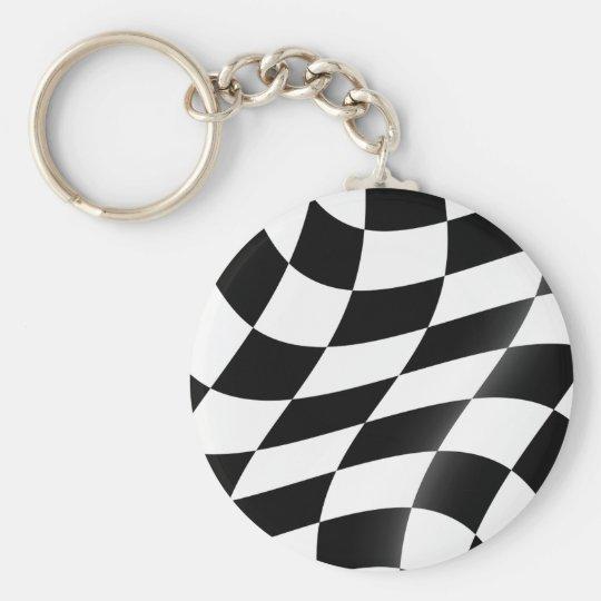 Schwarzweiss-Zielflagge Keychain Standard Runder Schlüsselanhänger