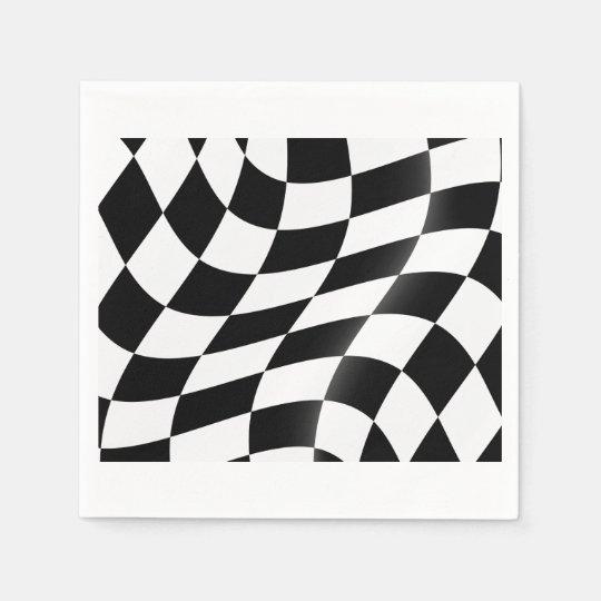 Schwarzweiss-Zielflagge-Papierservietten Papierserviette