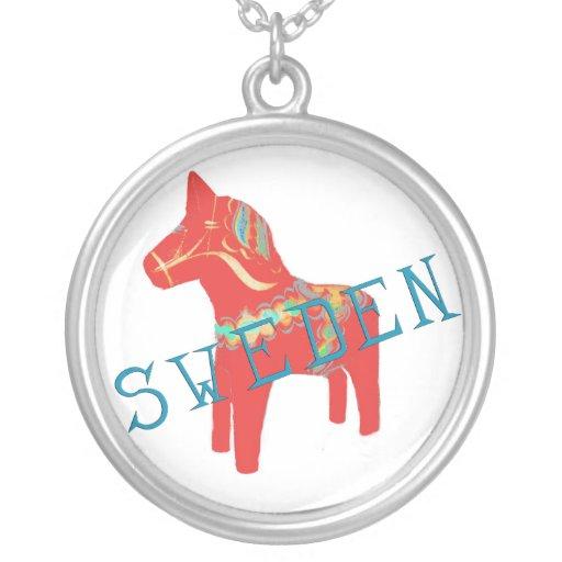 Schwede Dala Pferdehalskette Halskette Mit Rundem Anhänger
