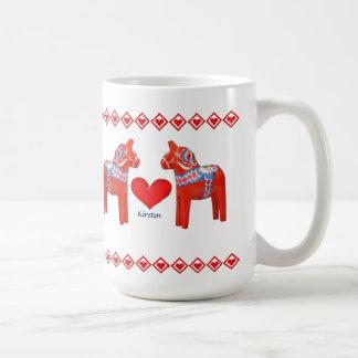 Schwede Dala Pferdeherz-individueller Name Kaffeetassen