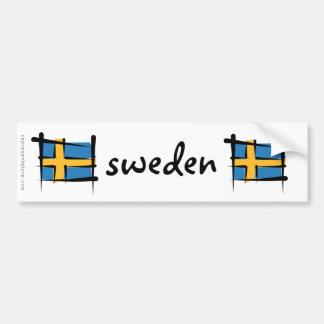 Schweden-Bürsten-Flagge Autoaufkleber