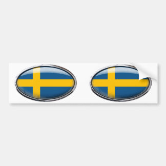Schweden-Flagge im Glasoval Autoaufkleber