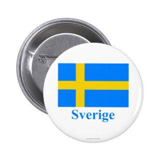 Schweden-Flagge mit Namen auf Schweden Runder Button 5,1 Cm