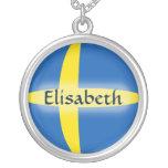 Schweden-Flagge + Namenshalskette Halskette Mit Rundem Anhänger