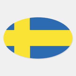 Schweden-Flagge Ovaler Aufkleber