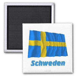 Schweden Fliegende Flagge MIT Namen Quadratischer Magnet