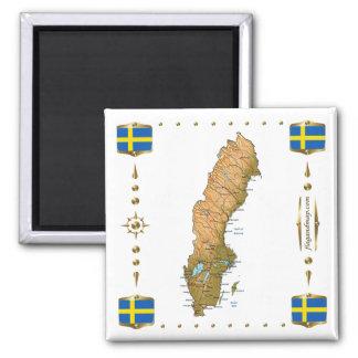 Schweden-Karte + Flaggen-Magnet Quadratischer Magnet