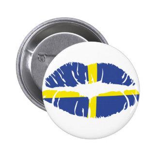 Schweden-Kusslippenstiftflagge Runder Button 5,1 Cm