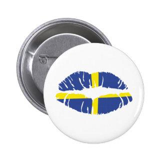 Schweden-Kusslippenstiftflagge Runder Button 5,7 Cm