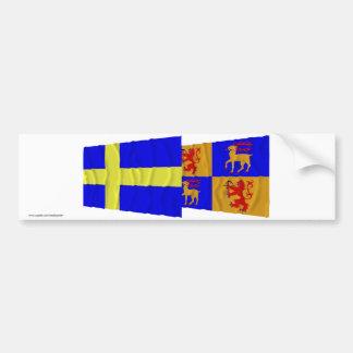 Schweden und Kalmar län wellenartig bewegende Flag Autoaufkleber