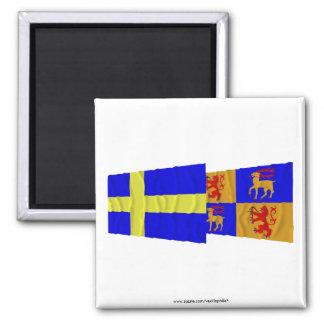 Schweden und Kalmar län wellenartig bewegende Flag Kühlschrankmagnete