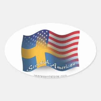 Schwedisch-Amerikanische wellenartig bewegende Ovaler Aufkleber