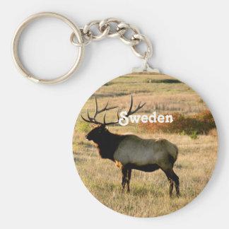 Schwedische Elche Standard Runder Schlüsselanhänger