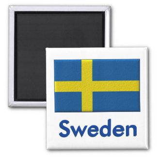 Schwedische Flagge Quadratischer Magnet