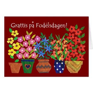 Schwedische Geburtstags-Karte - Blumen-Power! Grußkarte