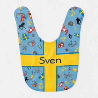 Schwedische Kultureinzelteile mit Flagge Babylätzchen