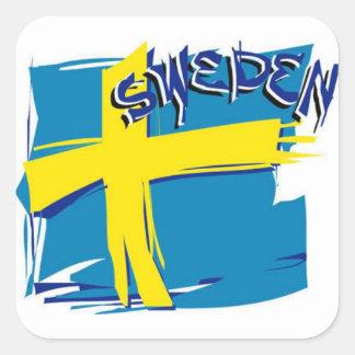Schwedische SFX Flagge Quadrat-Aufkleber