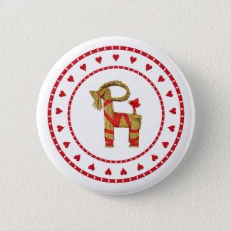 Schwedische Stroh-Ziege mit Herzen Runder Button 5,1 Cm
