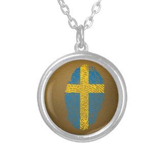 Schwedische Touchfingerabdruckflagge Halskette Mit Rundem Anhänger