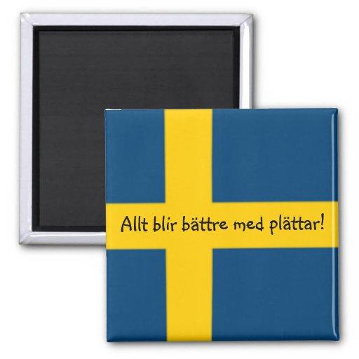 Schwedischer Flaggen-Thema-Kühlschrankmagnet - plä