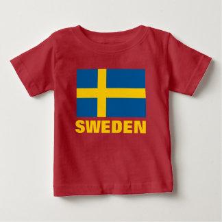 Schwedisches Flaggen-Gelb-kundengerechter Text Baby T-shirt