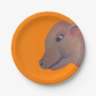 Schwein auf orange Pappteller