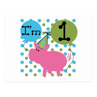 Schwein bin ich die 1 Geburtstags-T-Shirts und die Postkarten