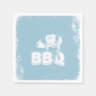 Schwein-Braten GRILLEN Grunge-Blau Papierservietten