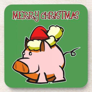 Schwein-frohe Weihnacht-Untersetzer Getränke Untersetzer