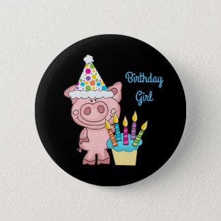 Schwein-Geburtstags-Mädchen-Knopf Runder Button 5,1 Cm