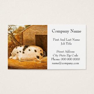 Schwein-gepunktetes Schwein-Vintage Visitenkarte