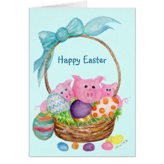 Schwein-glückliche Ostern-Karte. Schweine, Eier, Karte