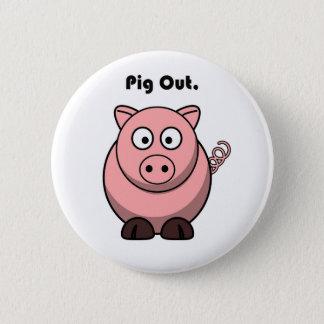 Schwein heraus rosa Piggy oder Schwein-Cartoon Runder Button 5,7 Cm