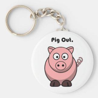 Schwein heraus rosa Piggy oder Schwein-Cartoon Schlüsselanhänger