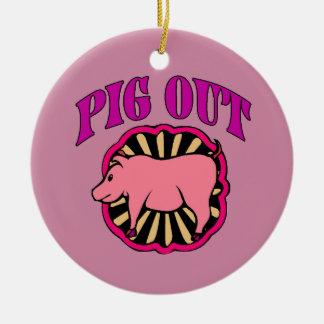 Schwein-heraus Weihnachtsbaum Rundes Keramik Ornament