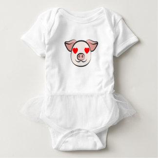 Schwein-Herz Emoji Baby Strampler