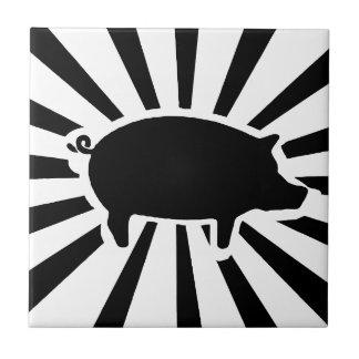 SCHWEIN ICH - Strahlen des Schweins Kleine Quadratische Fliese